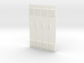 1/24 - Block of 4 Locker Fronts in White Processed Versatile Plastic