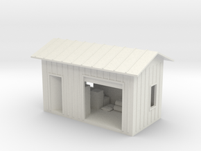 HO Shed With Lighting in White Natural Versatile Plastic