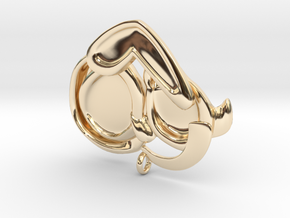 Dog Mom Hug Pendant in 14k Gold Plated Brass