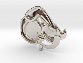 Dog Mom Hug Pendant in Rhodium Plated Brass