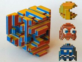 Pacman Cubed in Full Color Sandstone