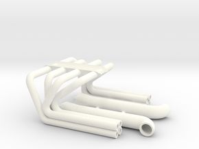 BBC 1/8 Roadster Headers in White Processed Versatile Plastic