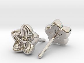 Kanzashi Earrings in Platinum