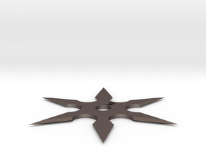 6 Sided Ninja Shuriken in Polished Bronzed Silver Steel