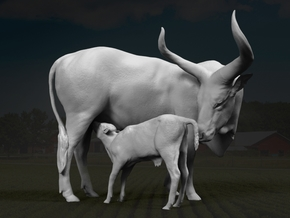 Ankole-Watusi 1:16 Mother and Calf in White Strong & Flexible