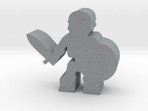 Game Piece, Skeleton Warrior, Shield in Polished Metallic Plastic