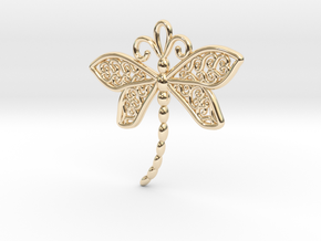 Dragonfly Earrings or pendant in 14k Gold Plated Brass
