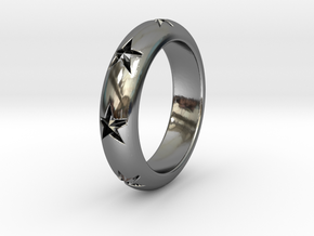 Ring Of Stars 14.1mm Size 3 in Fine Detail Polished Silver