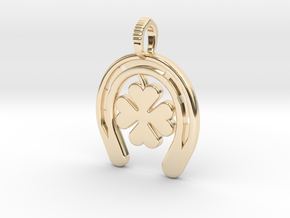 Horse Shoe With Luck Charm in 14K Yellow Gold