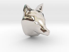 Low Poly Fox Pendant in Platinum