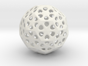 Mystic Icosahedron, Enclosing Small Solid Sphere in White Natural Versatile Plastic