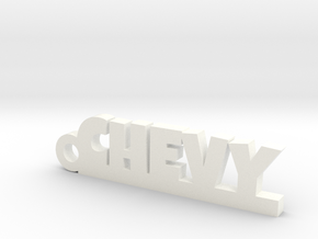 CHEVY Keychain Lucky in White Processed Versatile Plastic