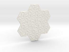 Hexagonal Spirals - Small Miniature in White Natural Versatile Plastic