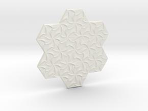 Hexagonal Spirals - Small Miniature in White Natural Versatile Plastic
