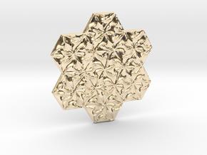Hexagonal Spirals - Small Miniature in 14k Gold Plated Brass