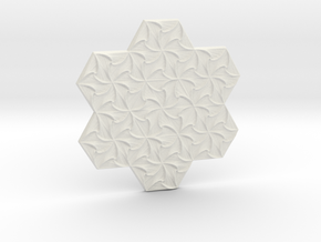 Hexagonal Spirals - Large Miniature in White Natural Versatile Plastic