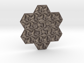 Hexagonal Spirals - Large Miniature in Polished Bronzed Silver Steel