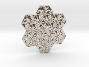 Hexagonal Spirals - Large Miniature in Rhodium Plated Brass