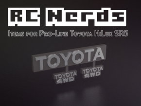 RCN014 Emblems for Pro-Line Toyota SR5  in Smooth Fine Detail Plastic