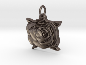 Heart rose V2 in Polished Bronzed Silver Steel
