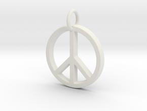 Peace Symbol in White Natural Versatile Plastic