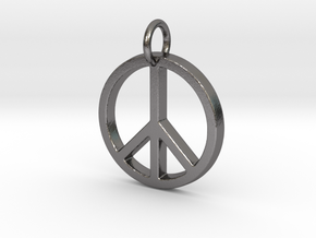 Peace Symbol in Polished Nickel Steel