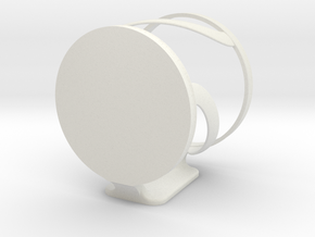 Damage free, wall mountable cup holder  in White Natural Versatile Plastic