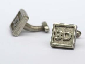 Custom cufflink nr.10 in Polished Bronzed Silver Steel