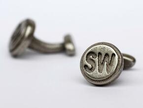 Custom cufflink nr.11 in Polished Bronzed Silver Steel