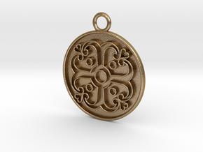 Pendant Swirled Cross in Polished Gold Steel