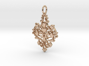 Elegant Vintage Classy Pendant Charm in 14k Rose Gold Plated Brass