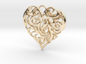 Beautiful Romantic Floral Heart Pendant Charm in 14K Yellow Gold