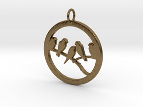 Birds In Circle Pendant Charm in Natural Bronze