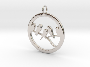 Birds In Circle Pendant Charm in Rhodium Plated Brass