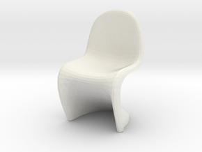 Miniature Panton Chair - Verner Panton in White Natural Versatile Plastic: 1:12