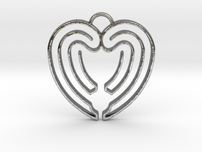 Heart Shape Angel Wings in Polished Silver