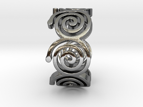 Seven Spirals Ring in Fine Detail Polished Silver: 7 / 54