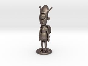 Alien toy figure in Polished Bronzed Silver Steel