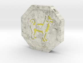 Dog Talisman in Coated Full Color Sandstone