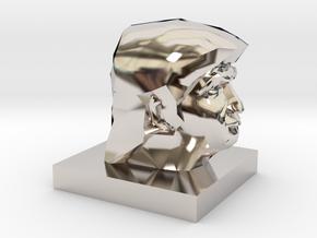 Trump Head in Rhodium Plated Brass: 1:10