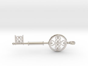 Key To The Heart (large) in Rhodium Plated Brass