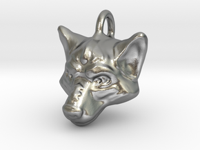 Wolf Pendant in Natural Silver