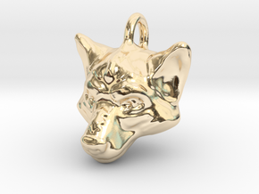 Wolf Pendant in 14K Yellow Gold