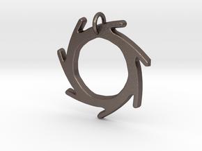Seven Lines II - Sun in Polished Bronzed Silver Steel
