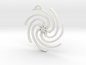 Seven Lines III - Spiral Star in White Natural Versatile Plastic