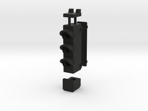 HO Triple Transit SIgnal in Black Natural Versatile Plastic
