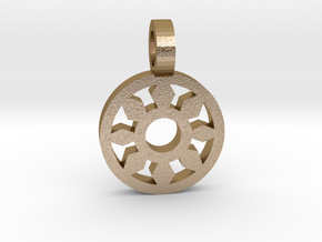 Sun Pendant 2 in Polished Gold Steel
