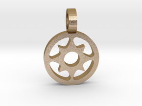 Sun Pendant 3 in Polished Gold Steel