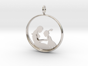 Mother & Daughter Pendant 2 -Motherhood Collection in Rhodium Plated Brass