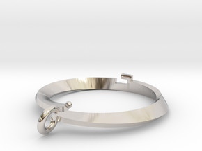 Pendant bi metal  loop Small in Rhodium Plated Brass